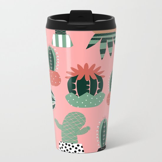 Succulents Pink Metal Travel Mug