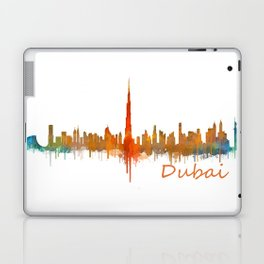 Dubai, emirates, City Cityscape Skyline watercolor art v2 Laptop & iPad Skin