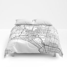Melbourne Map, Australia - Black and White Comforters