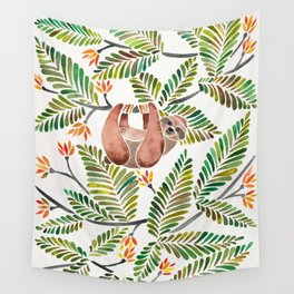 Happy Sloth – Tropical Green Rainforest Wall Tapestry