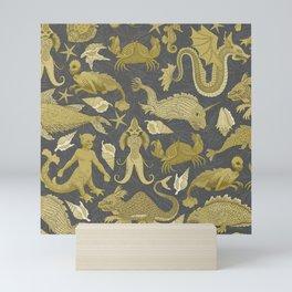 Deepsea Cryptids in Mustard and Grey Mini Art Print