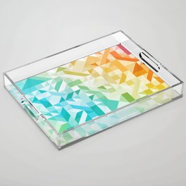 Colorful Geometric Pattern Saturated Rainbow Pattern Design (Red Pink Orange Yellow Green Blue) Acrylic Tray