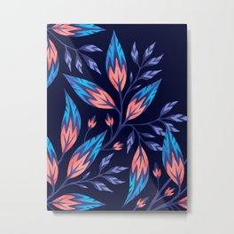 Frondescence - Ink / Coral Metal Print
