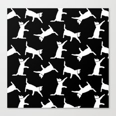 Cats-White on Black Canvas Print