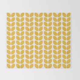 leaves - yellow Throw Blanket