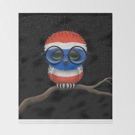 Baby Owl with Glasses and Thai Flag Throw Blanket