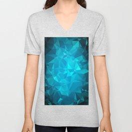 Blue Polygonal Mosaic Unisex V-Neck