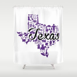 TCU Texas Landmark State - Purple and Black TCU Theme Shower Curtain