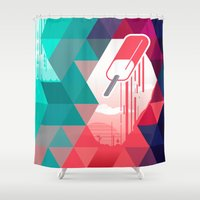 popsicle Shower Curtains featuring Watermelon Popsicle by Spires