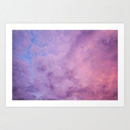 Amazing purple sunset sky with clouds Art Print
