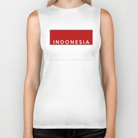 indonesia Biker Tanks featuring indonesia country flag name text by tony tudor