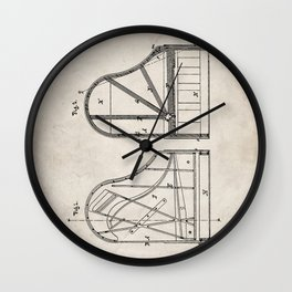 Steinway Grand Piano Patent - Piano Player Art - Antique Wall Clock
