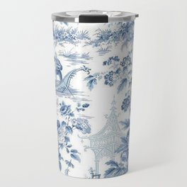 Powder Blue Chinoiserie Toile Travel Mug