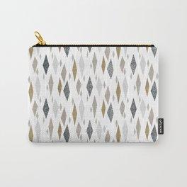 Danish Diamond Mid-Century Geometric Print Tan Carry-All Pouch