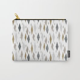 Danish Diamond Mid-Century Geometric Print Tan Carry-All Pouch