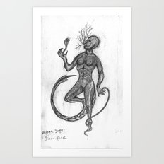 Black Yoga: self-sacrifice Art Print