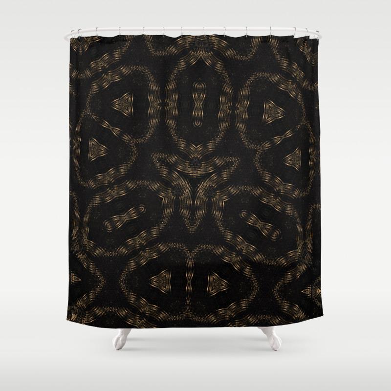 Elegant Luxury Gold Golden Abstract Geometric Shower Curtain