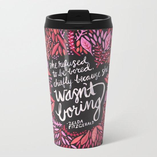 Zelda Fitzgerald – Pink on Charcoal Metal Travel Mug