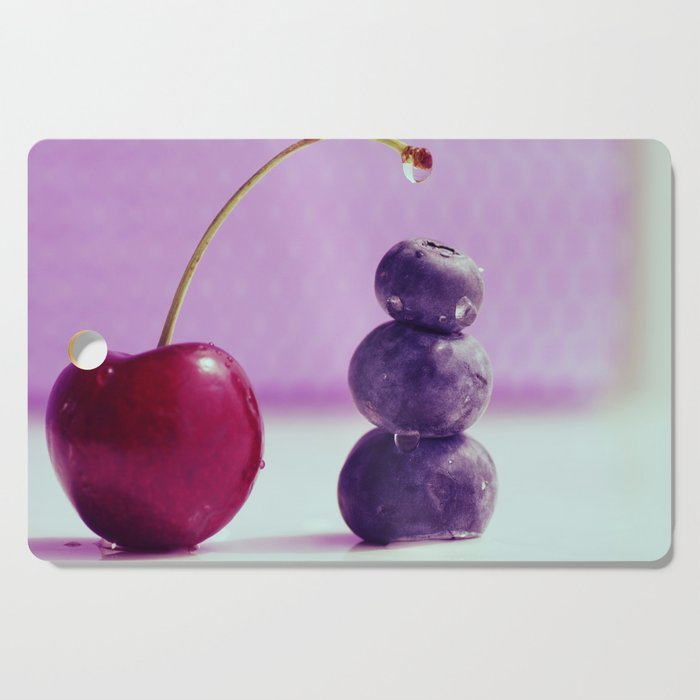 Food Design fresh Cherry and Bluebeeries Cutting Board