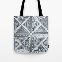 Simply Tribal Tile in Indigo Blue on Lunar Gray Tote Bag