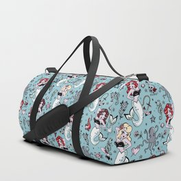 Molly Mermaid vintage pinup inspired nautical tattoo Duffle Bag