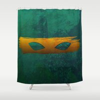 tmnt Shower Curtains featuring TMNT Mikey by Some_Designs