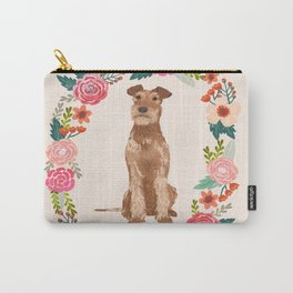 Irish Terrier floral wreath dog breed pet portrait pure breed dog lovers Carry-All Pouch