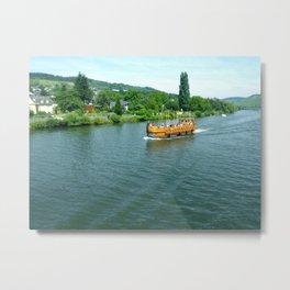 Ship on the River Metal Print