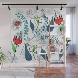 White Egret Orchid Wall Mural