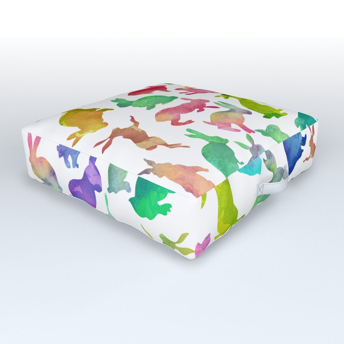 Watercolour Bunnies Outdoor Floor Cushion By Notsniw
