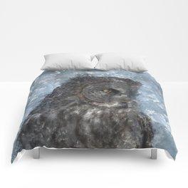 Contemplation - Great Grey Owl Portrait Comforters