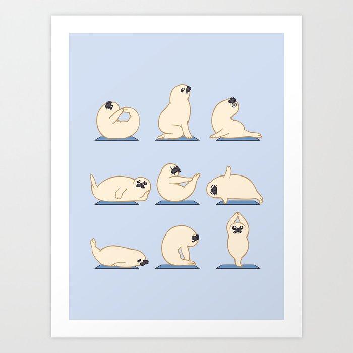 Baby Seal Yoga Art Print
