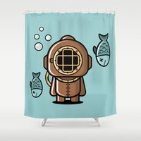 diver Shower Curtains featuring Vintage Diver by m. arief (mochawalk)