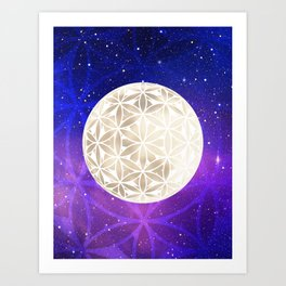 Flower of Life Moon 3 Art Print
