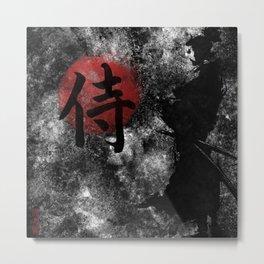 Kanji Samurai Grunge Metal Print