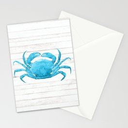 Nautical Blue Crab Driftwood Dock Stationery Cards
