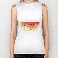 watermelon Biker Tanks featuring watermelon  by Soso Creation