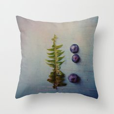 Fern and Blueberries Throw Pillow