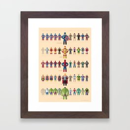 M superheroes evolution Framed Art Print
