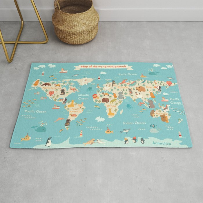 Animals World Map For Kid Rug By Rimma