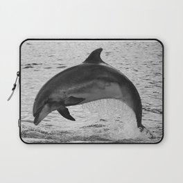 Jumping wild bottlenose dolphin black and white Laptop Sleeve