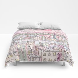 Seattle in Colored Pencil Comforters