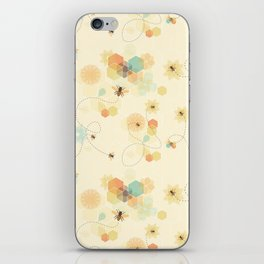 Busy bee textile pattern iPhone Skin