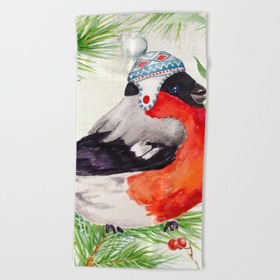 Winter animal #2 Beach Towel