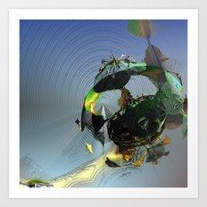 Mysterious Flying Vehicle Landing Art Print
