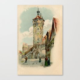 Aquarelle watercolor Rothenburg ob der Taube Bavaria Germany Canvas Print