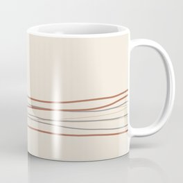 Off White Solid Color with Minimal Scribble Stripes Bottom Brown, Gray, And Beige Coffee Mug