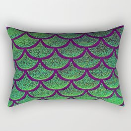 Emerald Eggplant Scales Rectangular Pillow