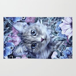 Cat In Flowers. Winter Rug