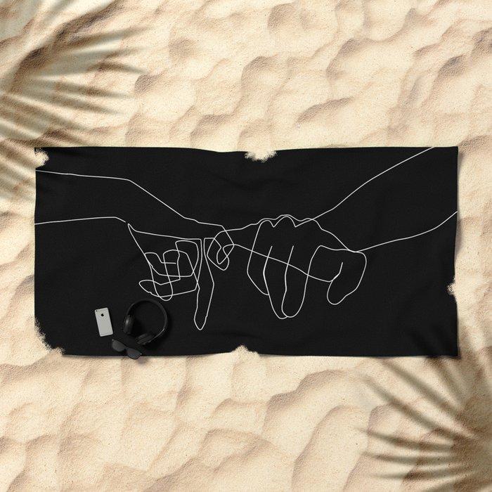 Black Pinky Swear Beach Towel